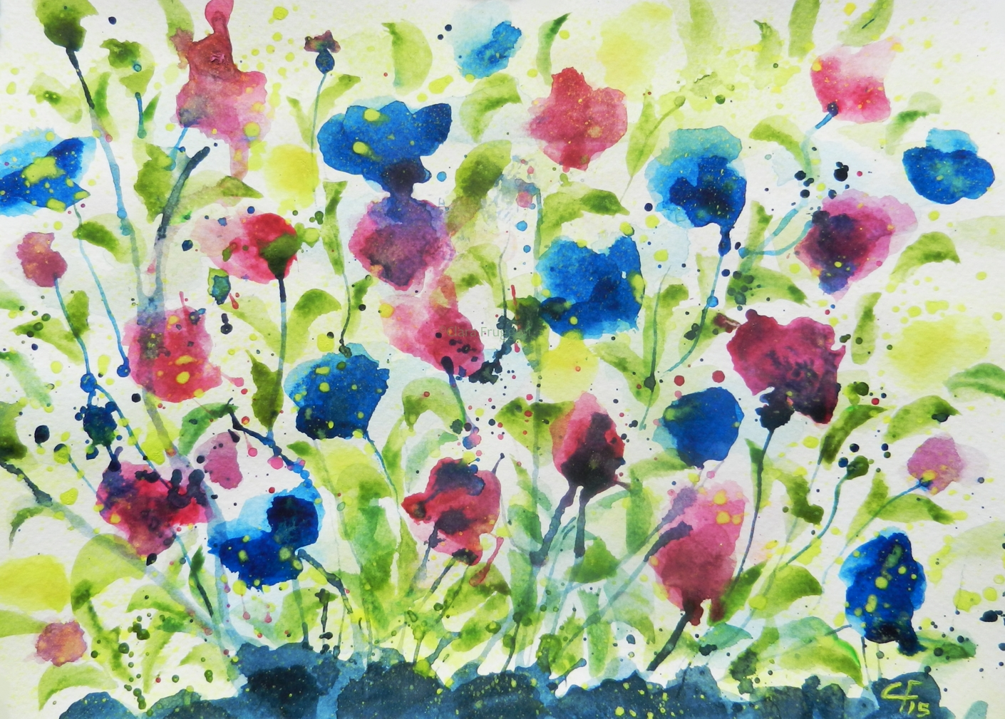 Barrier flowers, Barriera a fiori, Watercolor, Painting, Nature, Flowers, Garden, Clara Fruggeri