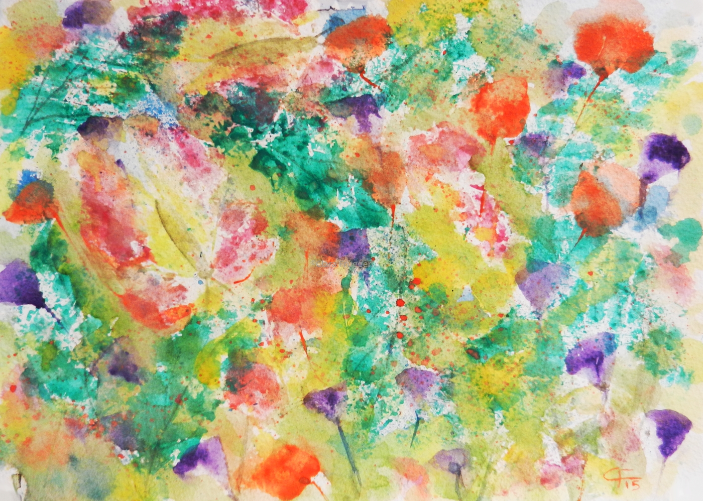 Life in moving,  Watercolor, Painting, Nature, Flowers, Leaves, Colors, Clara Fruggeri