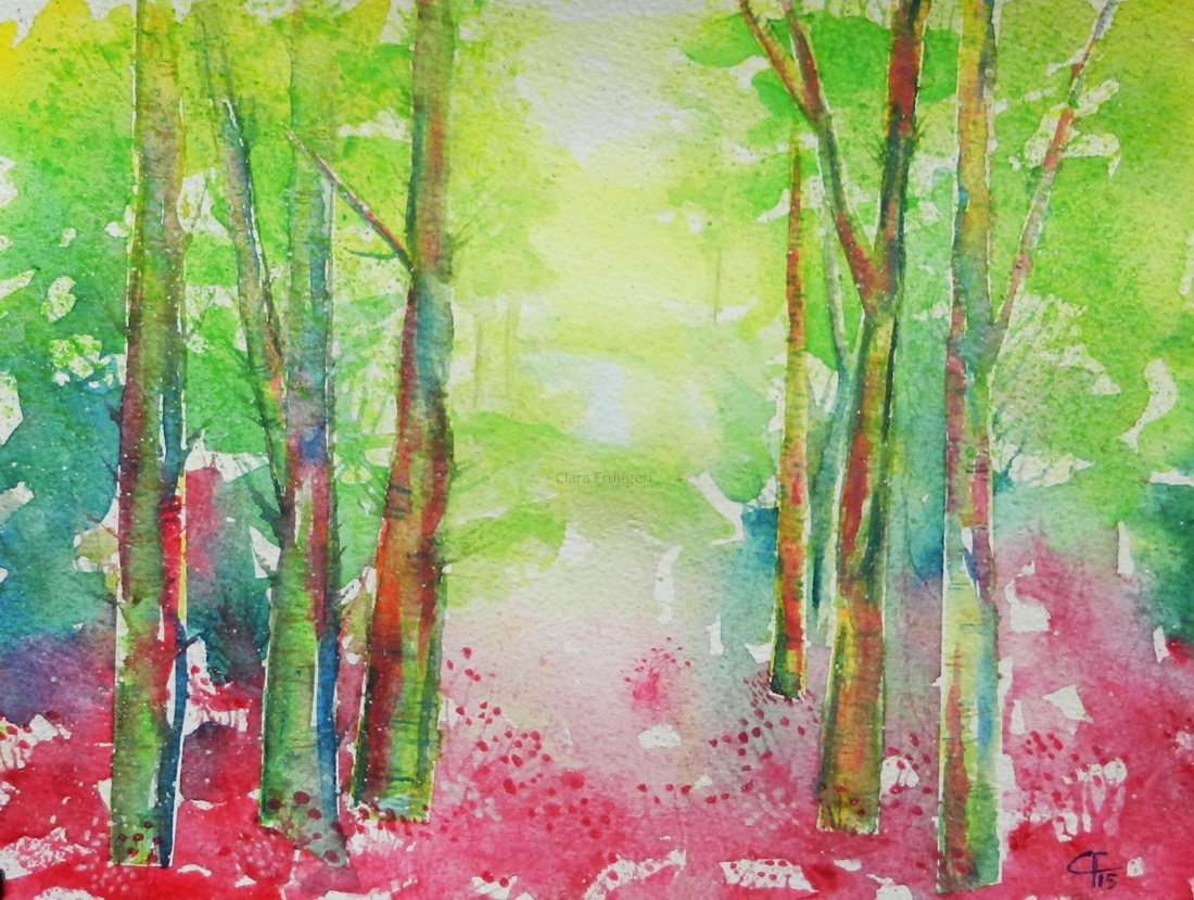 From the woods, Watercolor, Painting, Nature, Flowers, Clara Fruggeri