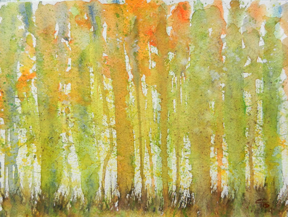 Guardians of the forest, Guardiani del bosco, Watercolor, Trees, Landscape, Clara Fruggeri