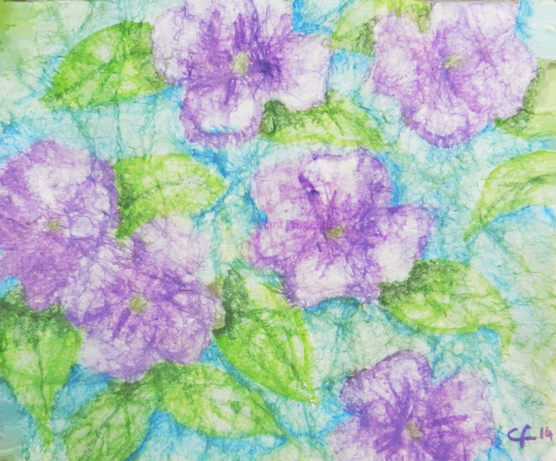 Violette, Violets,  Watercolor, Painting, Nature, Flowers, Clara Fruggeri