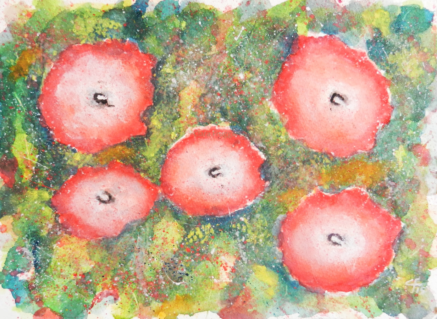 Red Flowers, Watercolor, Painting, Nature, Flowers, Garden, Clara Fruggeri