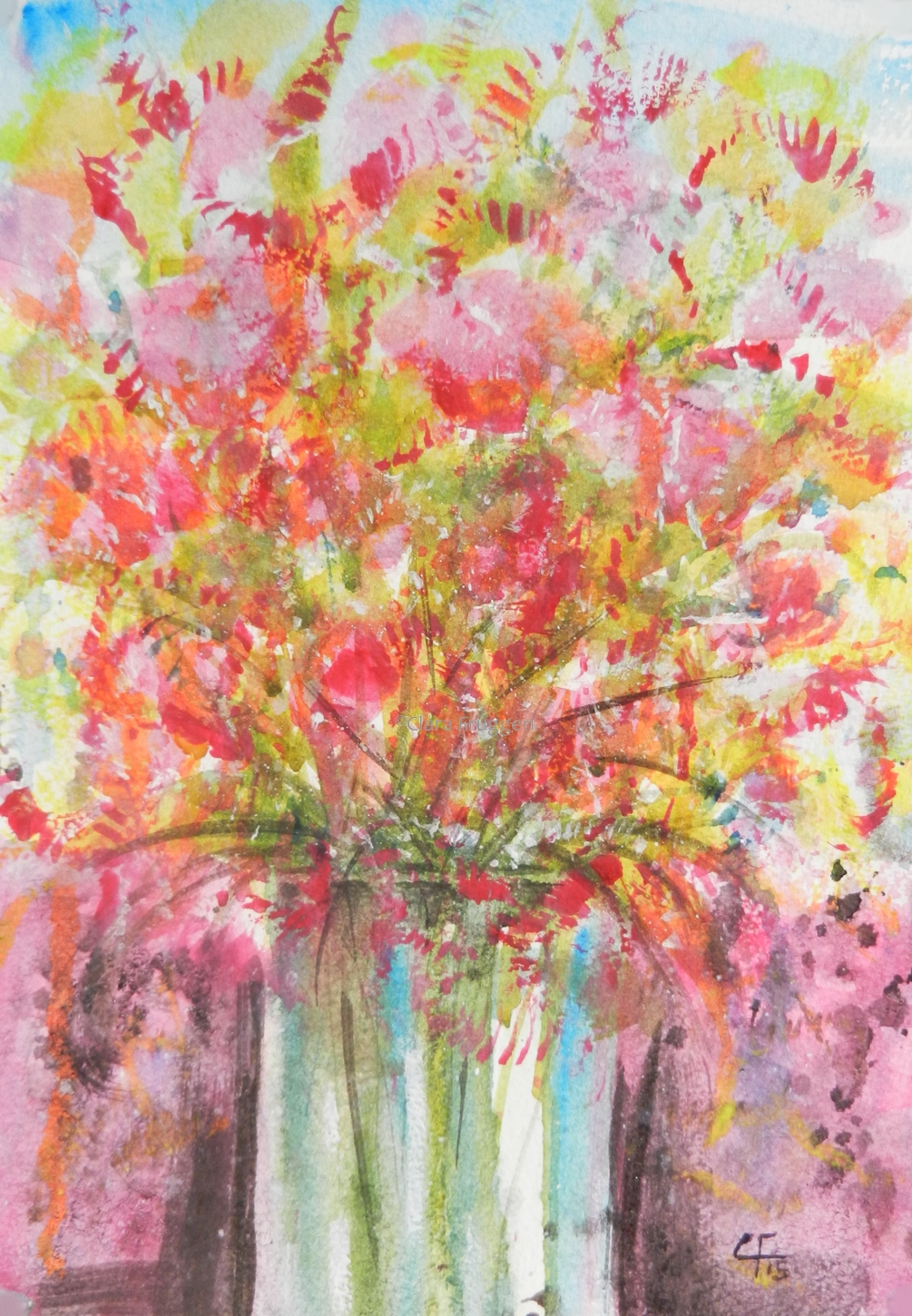 Flower port, Watercolor, Painting, Nature, Flowers, Colors, Abstract Art, Clara Fruggeri