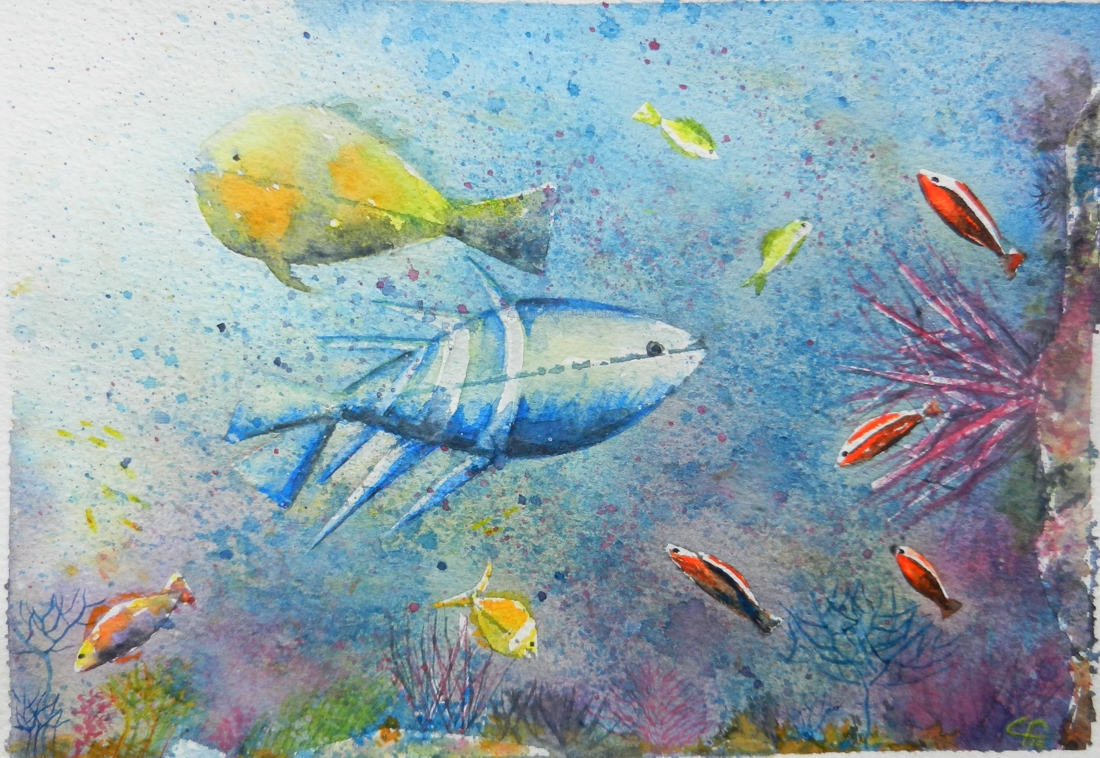 Barrier Reef, Barriera corallina, Watercolor, Seascape, Nature, Painting, Clara Fruggeri