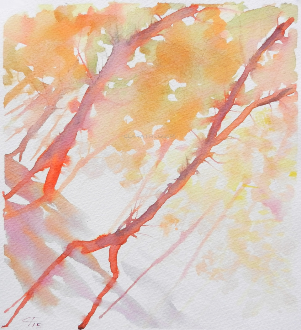 Among the leaves, Tra il fogliame,  Watercolor, Painting, Nature, Trees, Wood, Clara Fruggeri
