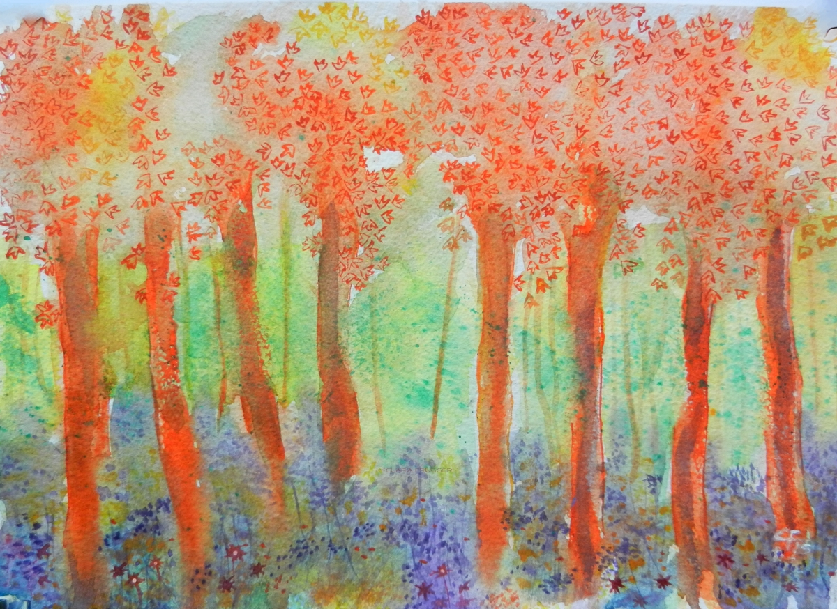 Undergrowth, Sottobosco, Watercolor, Trees, Landscape, Clara Fruggeri