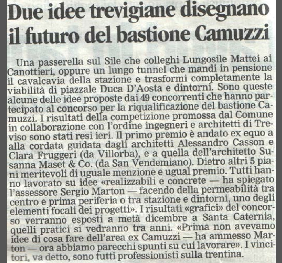 Tribuna di Treviso, Clara Fruggeri as an architect wins the contest of ideas for the redevelopment of the Bastion
