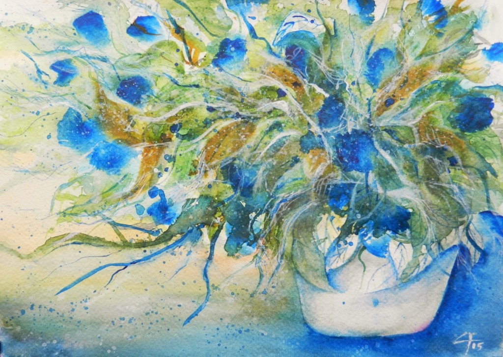 A gust of wind, Una folata di vento, Watercolor, Flowers, Clara Fruggeri