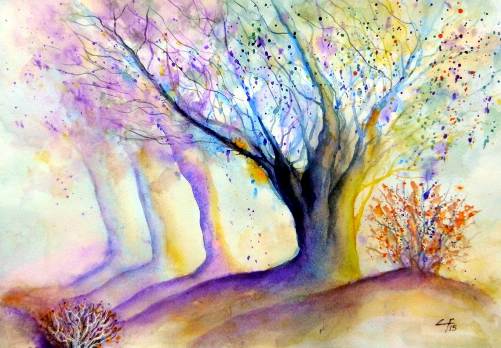 Oak trees, , Watercolor, Trees, Landscape, Clara Fruggeri