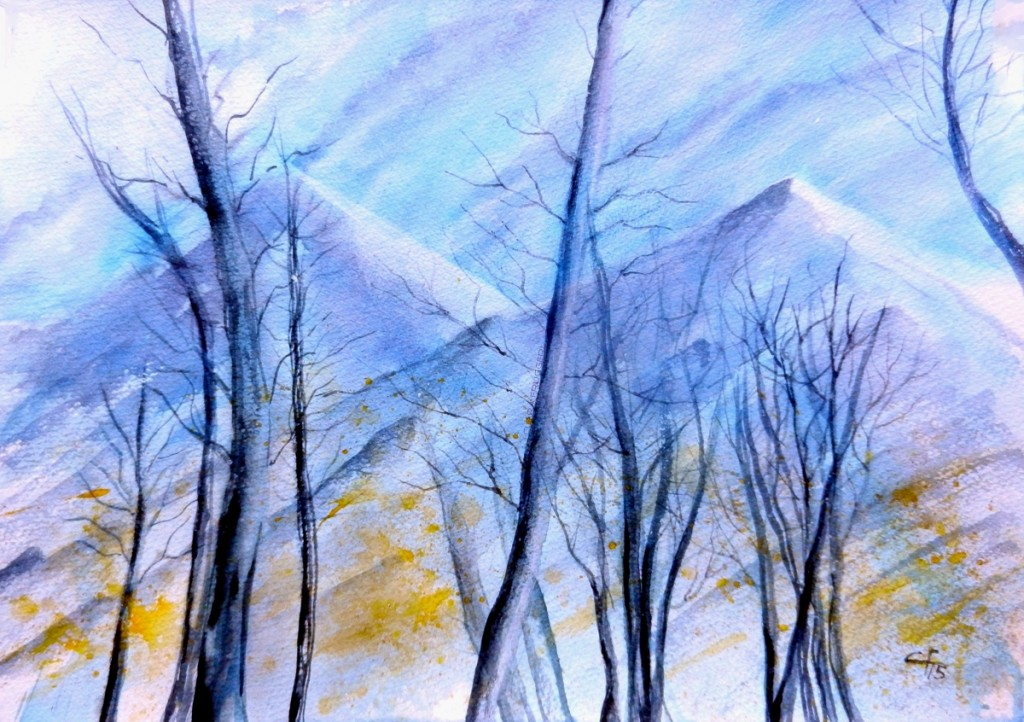 Among the naked larches the Alps, Tra i larici spogli le Alpi, Clara Fruggeri, Watercolor, Landscape,