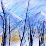 Among the naked larches the Alps, Tra i larici spogli le Alpi, Clara Fruggeri, Watercolor