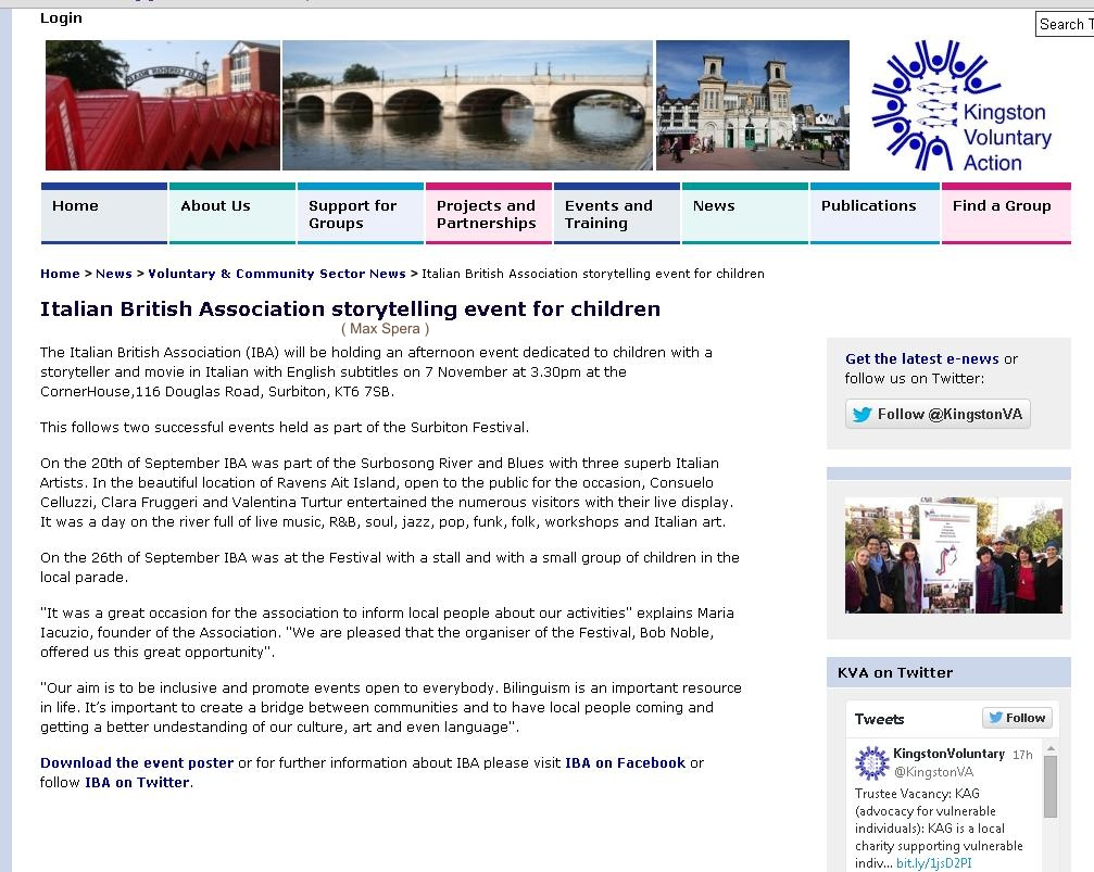But in this article am I there? Thank you Kingston Voluntary Action - Clara Fruggeri artist