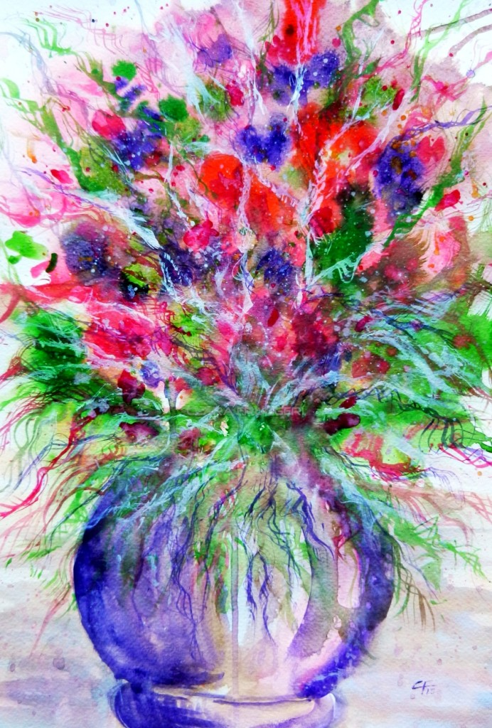 Dominance of red and purple, Watercolor, Flowers, Nature, Vase of flowers, Clara Fruggeri
