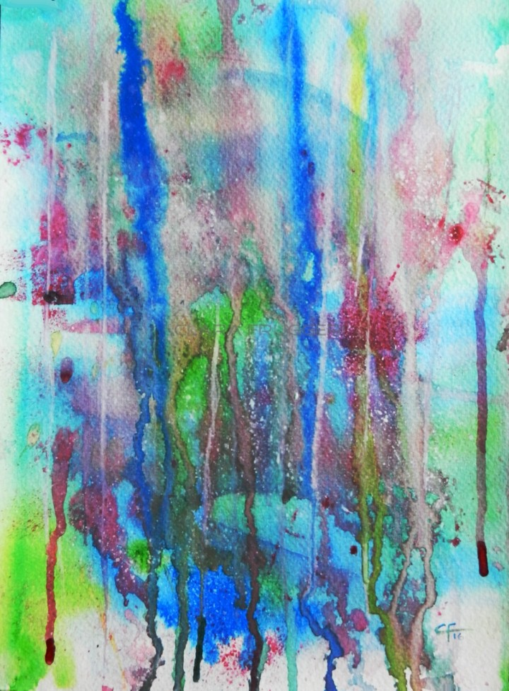 A rainy day, Un giorno di pioggia, Watercolor, Painting, Abstract art, Colors, Clara Fruggeri