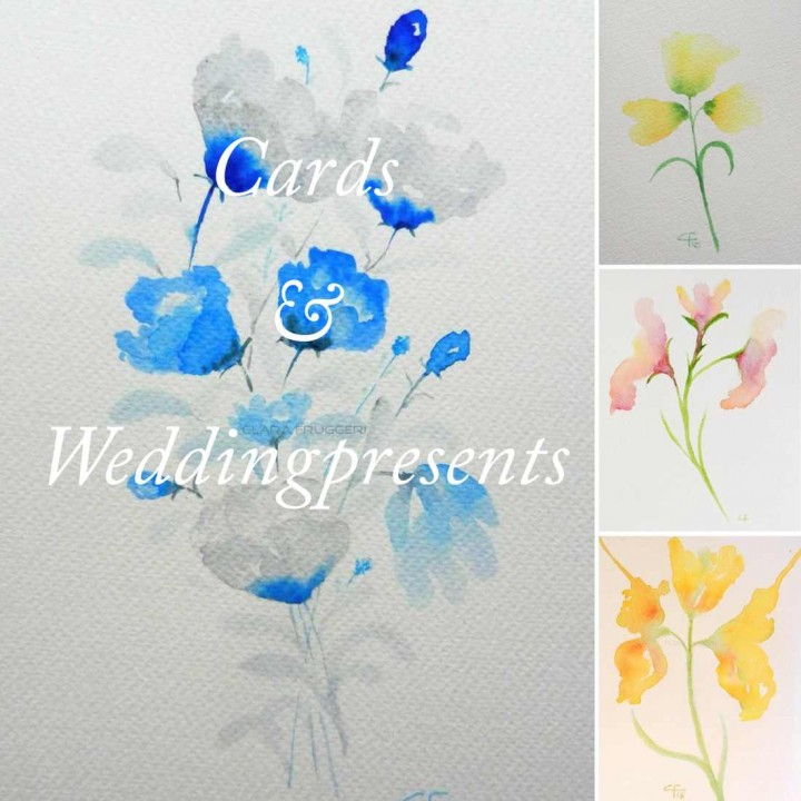 Cards, Weddingpresents, watercolors | Clara Fruggeri