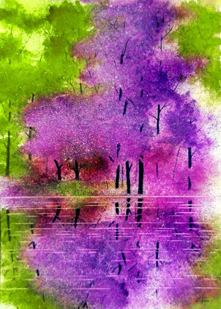 Reflexes, Riflessi, Watercolor, Nature, Landscape, Trees, Clara Fruggeri
