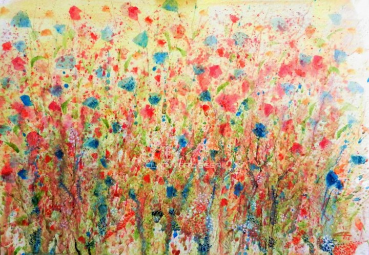 Between red and blue, Clara Fruggeri, Watercolor, Flowers, Field,
