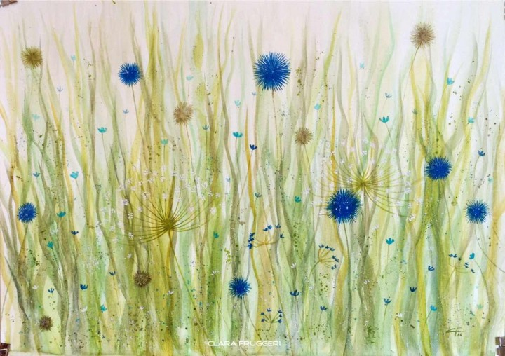 Field Flowers, Fiori da campo, Watercolor, flowers, Clara Fruggeri