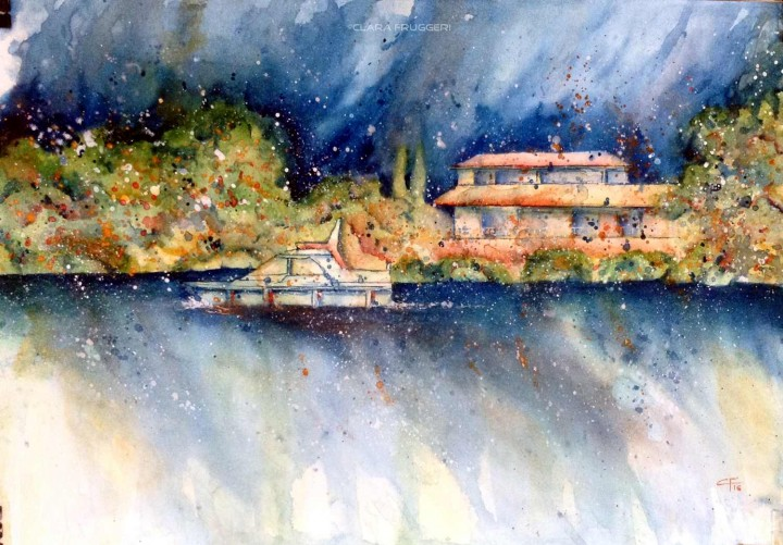 Summer's last days, Sul Tamigi, Watercolor, landscape, Clara Fruggeri