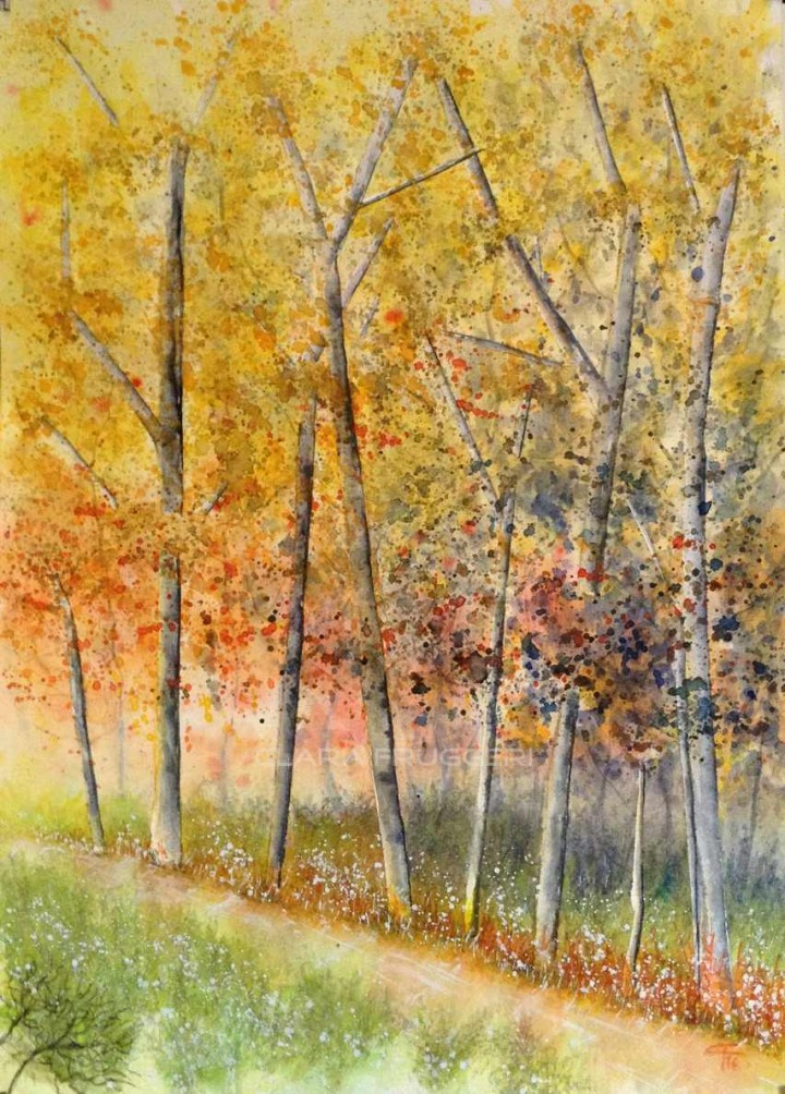 Painting the autumn, Watercolor, Landscape, Autumn, Clara Fruggeri
