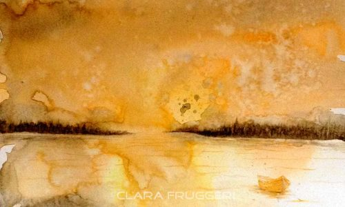 Watercolor, Landscape through dreams