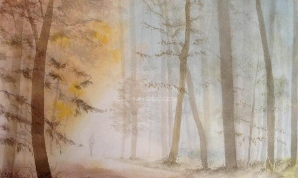 Watercolor, Mist on the path