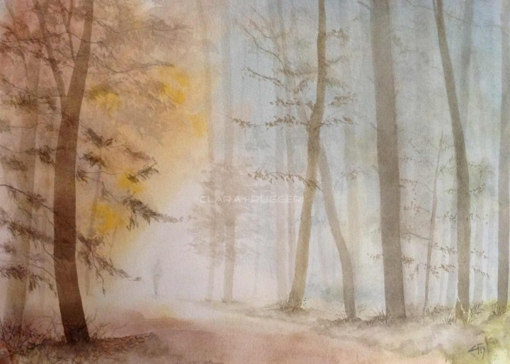 watercolor painting winter fog wood