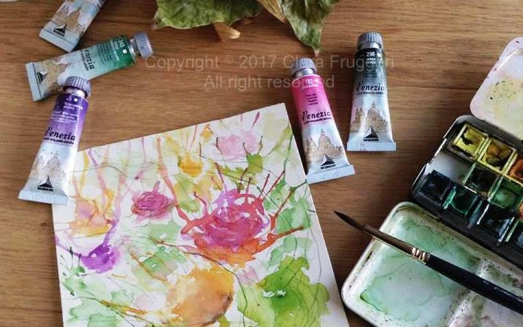 Autumn roses, Original watercolor painting