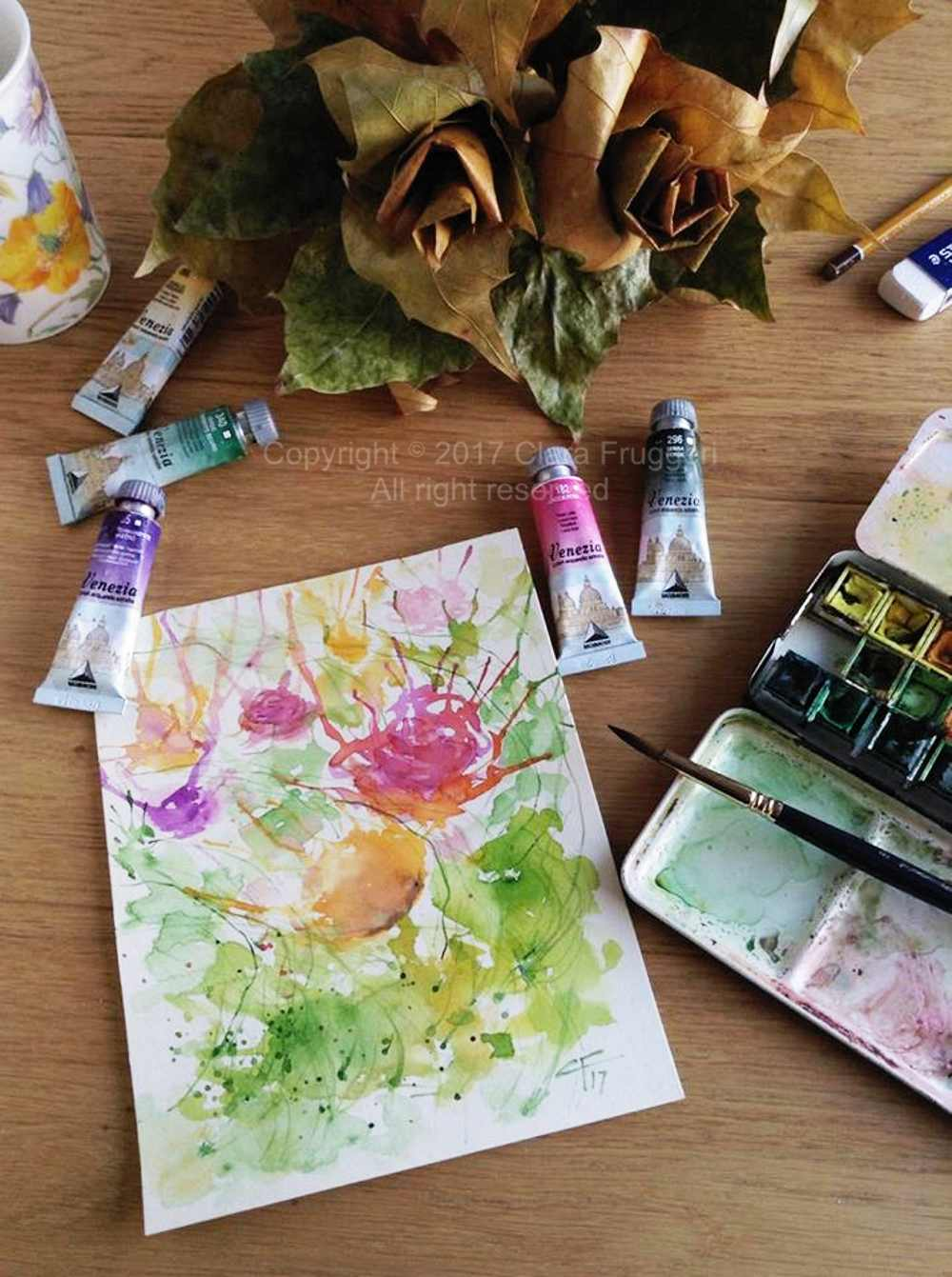 Autumn roses - original watercolor painting