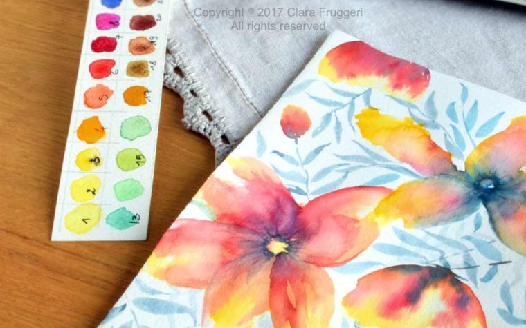 Watercolor meadows full of flowers, Watercolor flowers