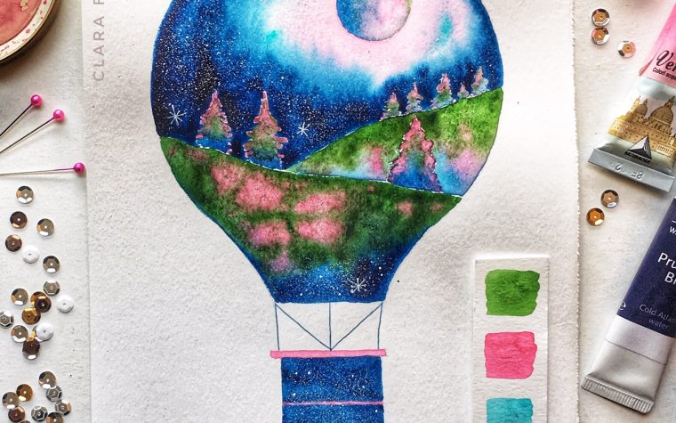 Watercolor hot air balloon, Clara Fruggeri