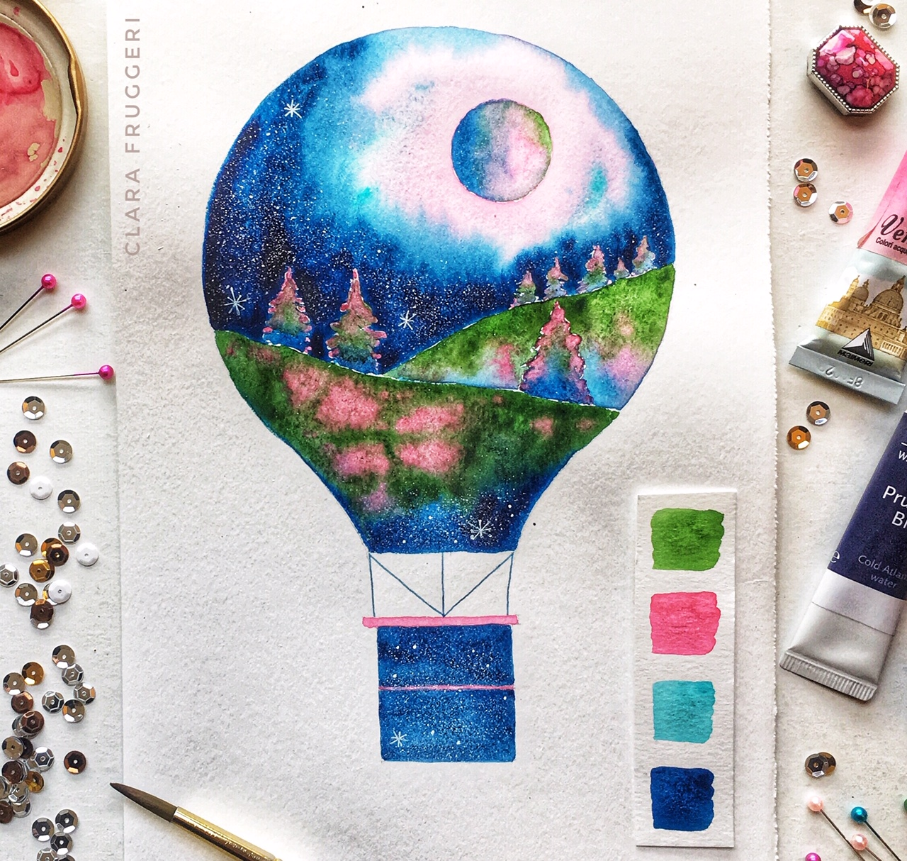 Watercolor, hot air balloon, Clara Fruggeri