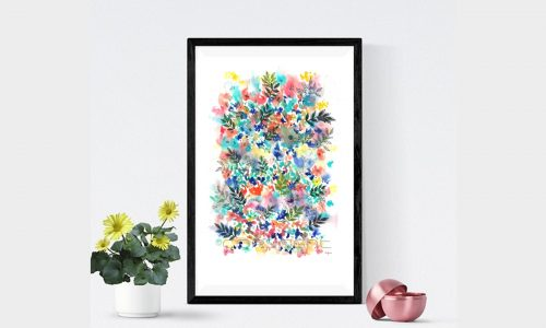 Digital Print Download, Watercolor Print, Flowers