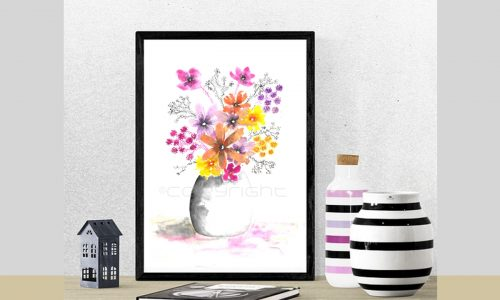 Wall decor, Printable wall art, Watercolor flowers wall art, Colorful art prints