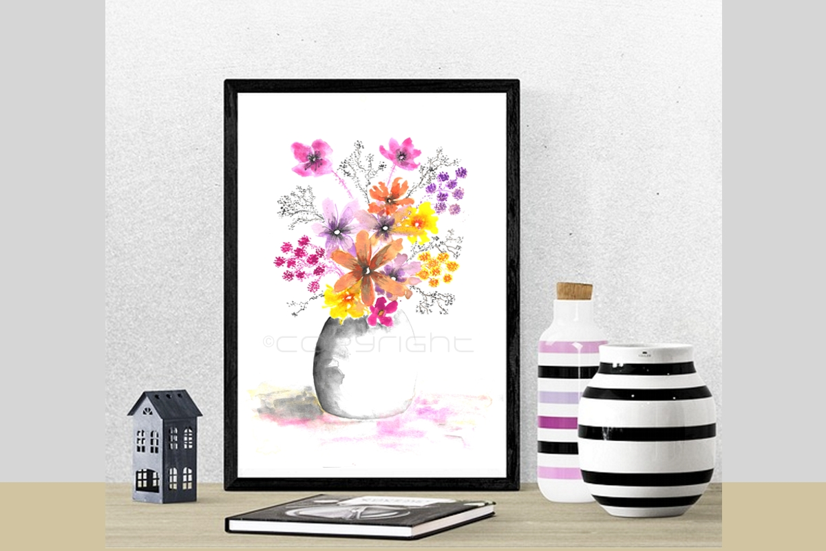 Wall decor, Printable wall art, Watercolor flowers