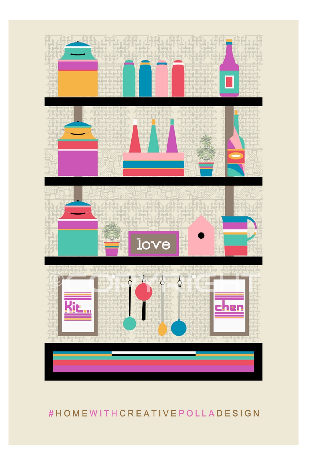 Kitchen wall decor, Mid Century Modern Instant Printable, Digital print 2