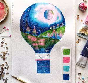 Watercolor, hot air balloon