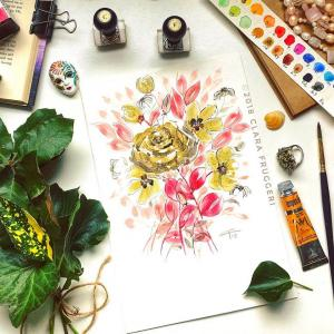 "Watercolor painting ""Golden flowers"""
