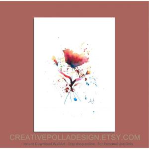 Red Rose Print, Rose Watercolor Painting, Watercolor Floral Print, Watercolor Flowers Bouquet Painting Wall Decor, Instant Printable art