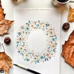 Watercolor crown of leaves and flowers